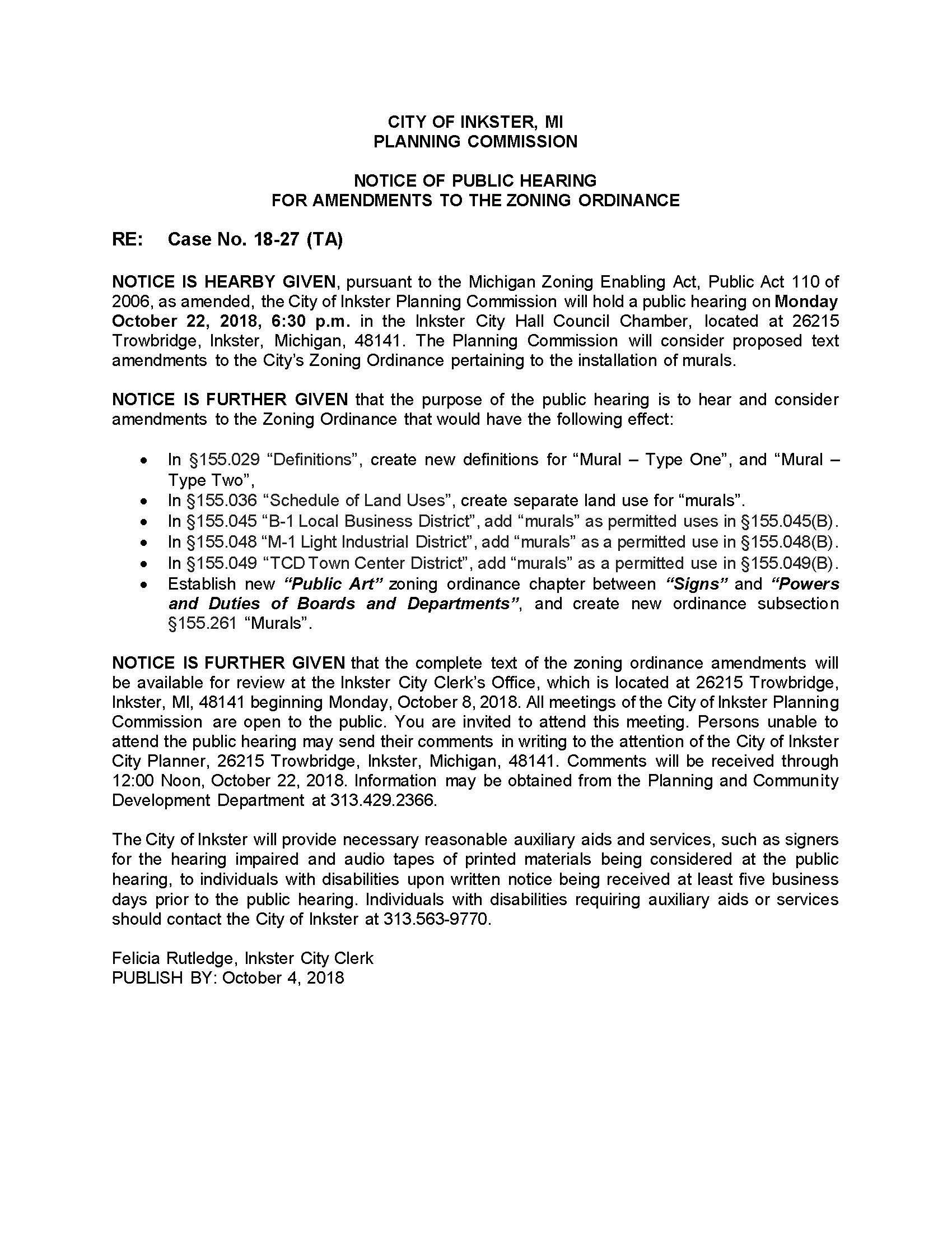 Public Hearing Notice TA 18-27 Zoning Amendments Murals