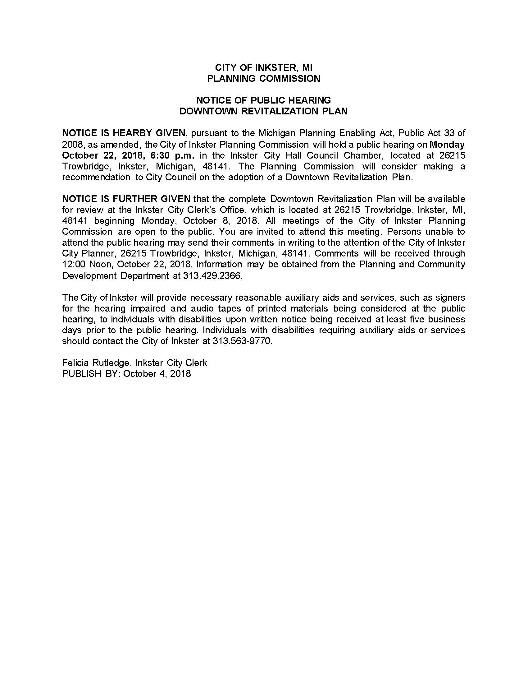 Public Hearing Notice Downtown Revitalization Plan