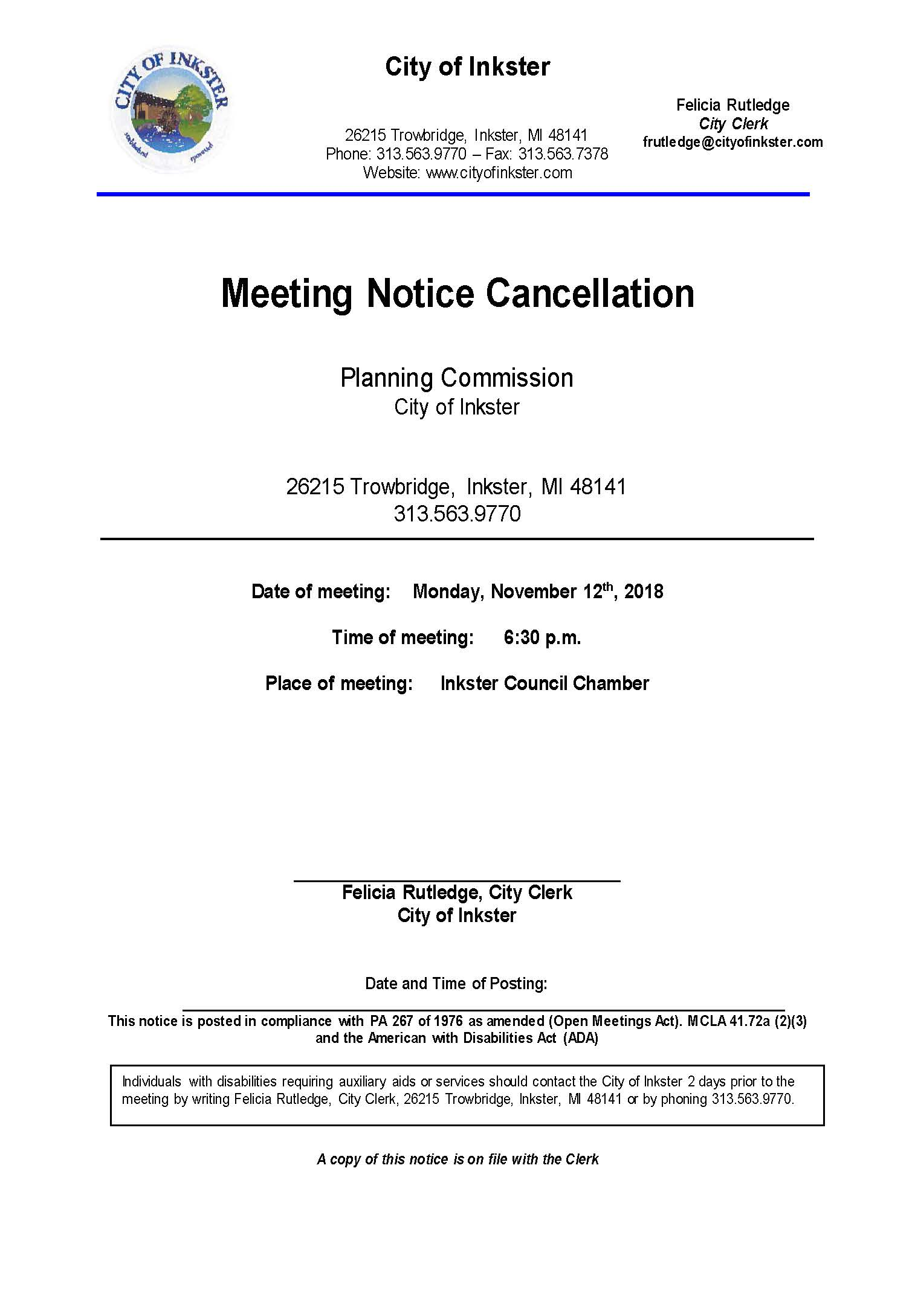 Planning Commission Cancellation Notice November 12 2018